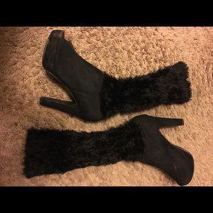 Shoes - Fur heel booties